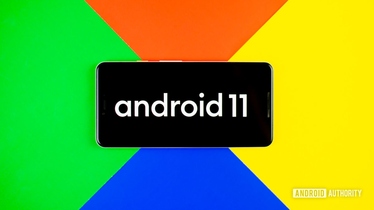 Android 11 stock photo with google colors 2