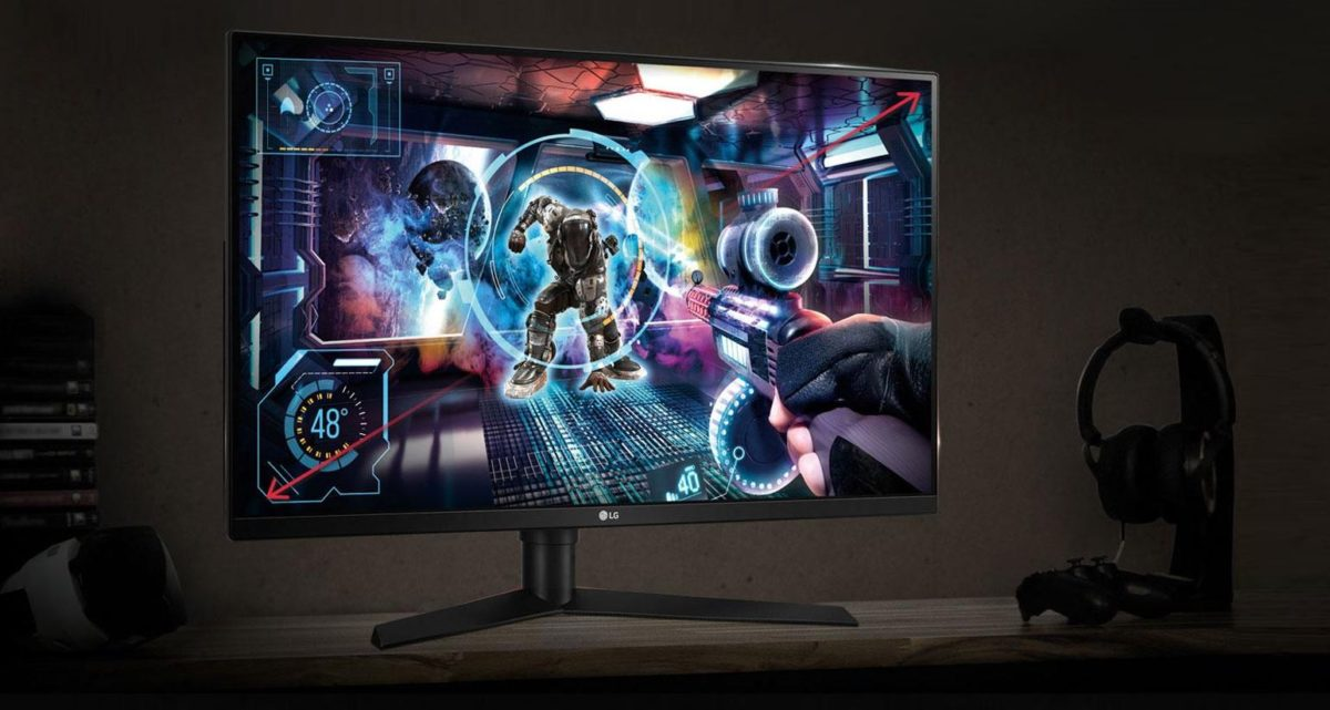 LG 31 inch G Sync LCD gaming monitor on the desk