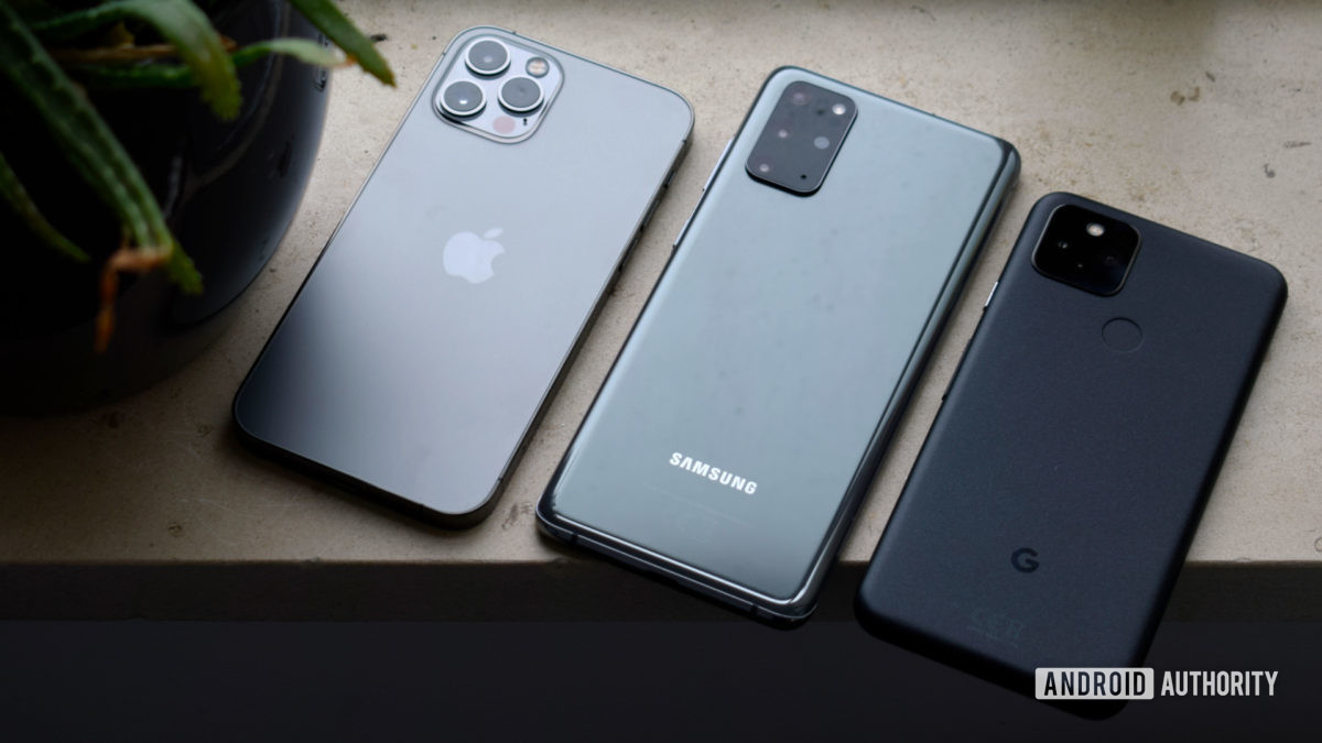 Samsung Galaxy S20 Plus versus Apple iPhone 12 Pro versus Google Pixel 5 EOY 2020
