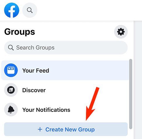 Create a new group button on Facebook