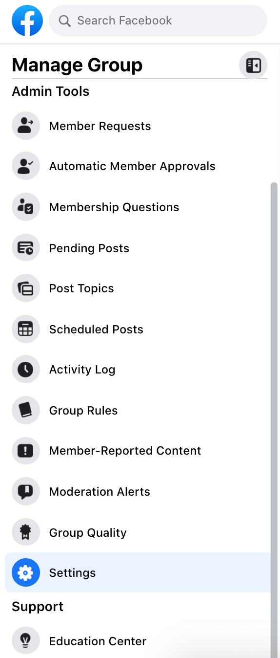 Manage the group dashboard on Facebook