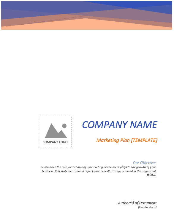 Cover page of free marketing plan template