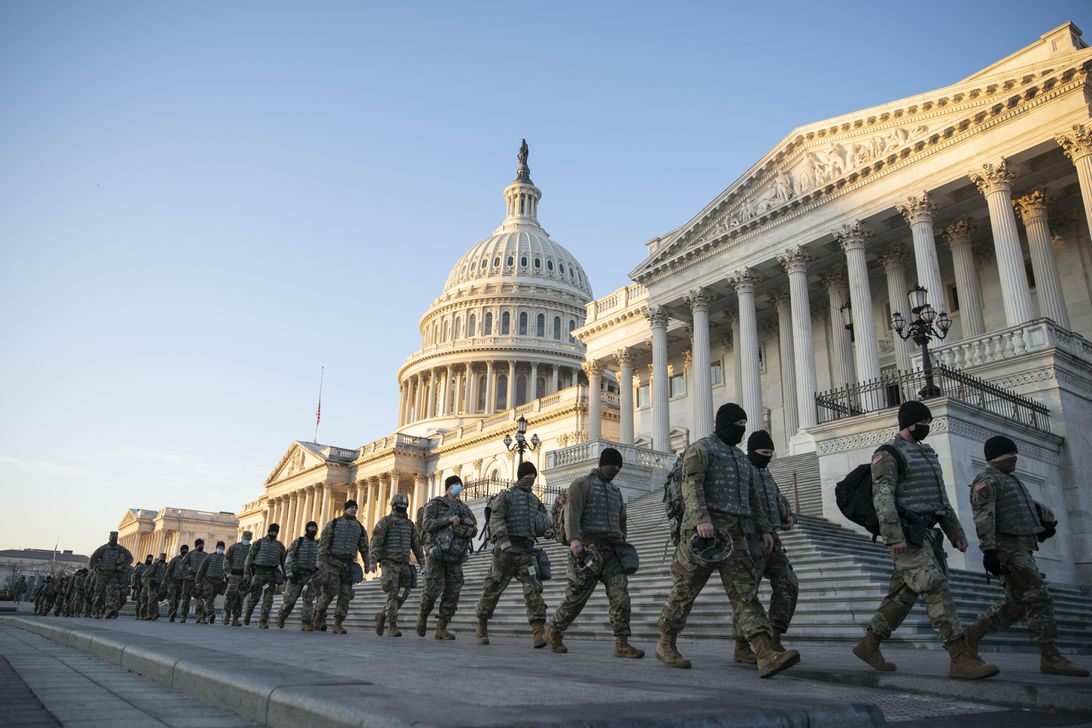 National Guard troops in front of the US Capitol