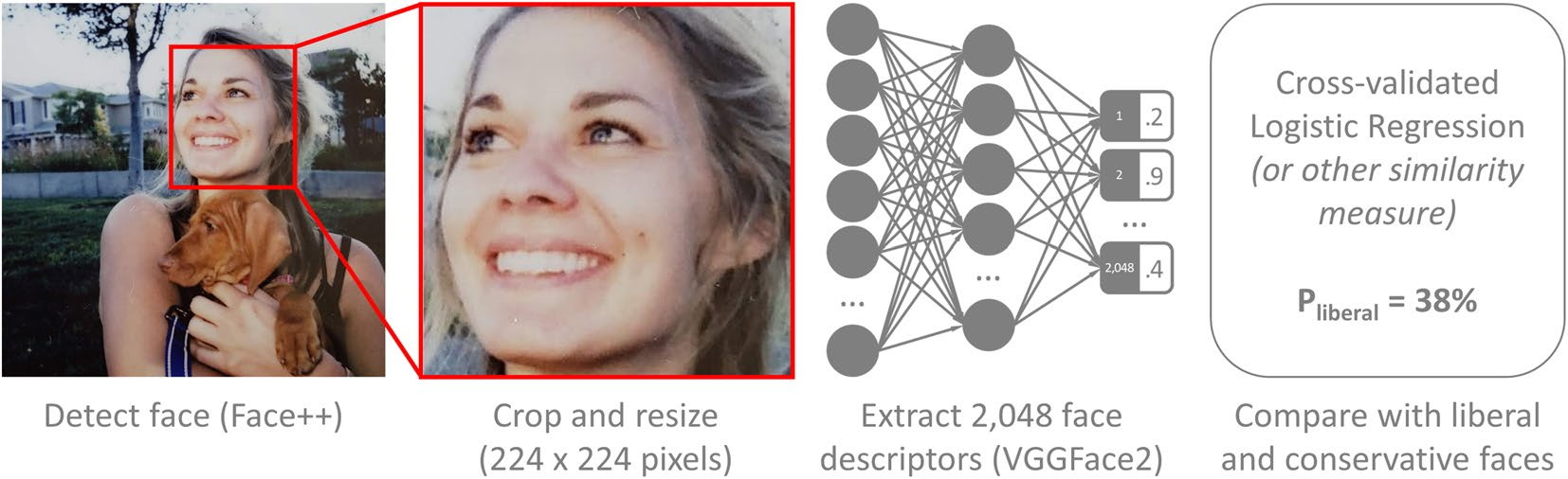 Graph showing how faces are cropped and reduced to representations of neural networks.