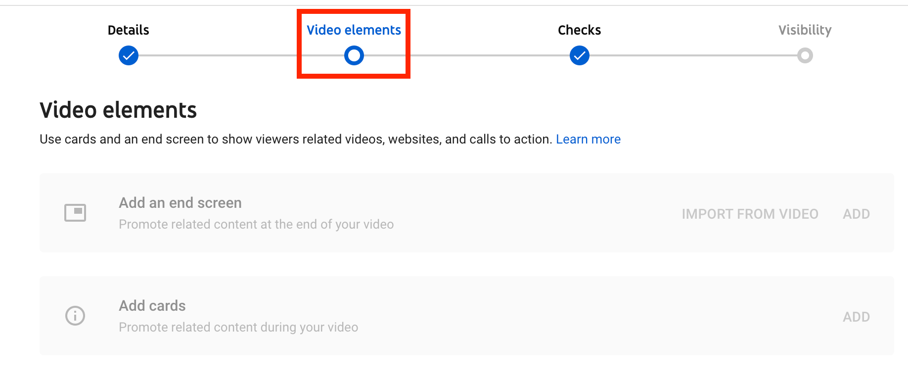 Video editing page for YouTube Creator Studio with the video elements tab highlighted in red