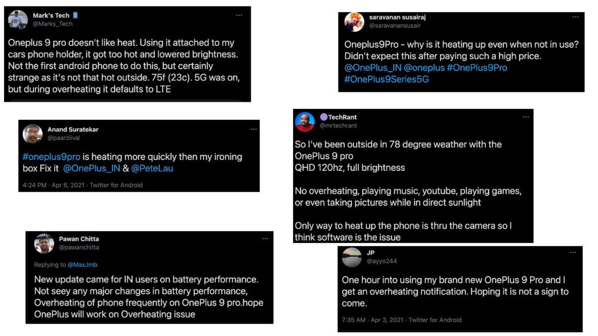 OnePlus 9 Pro overheats complaints from Twitter