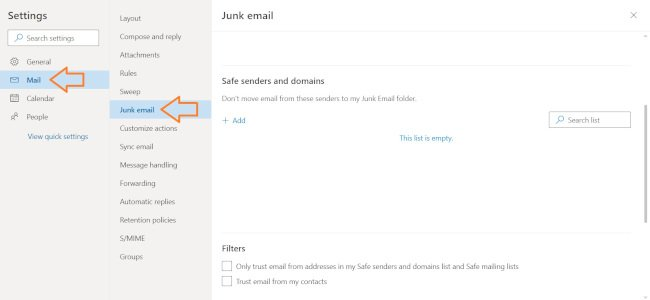 Outlook Junk Email Settings