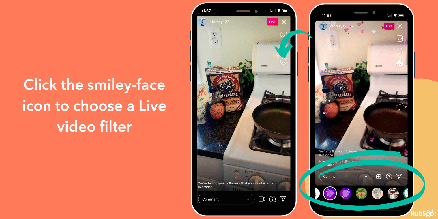 Ändern Sie den Filter in Instagram Live-Videos mit dem Smiley-Symbol