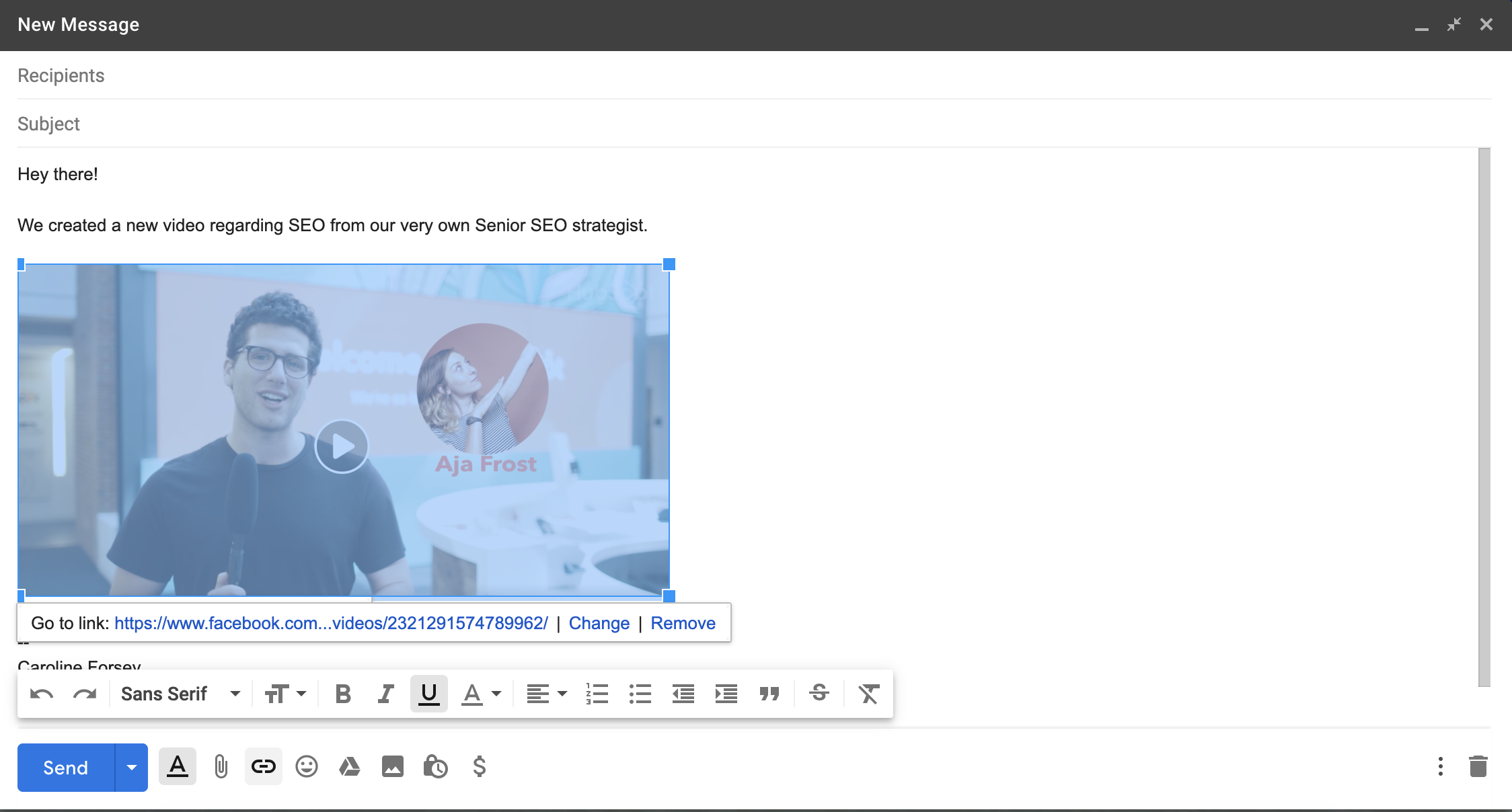 Embed video email