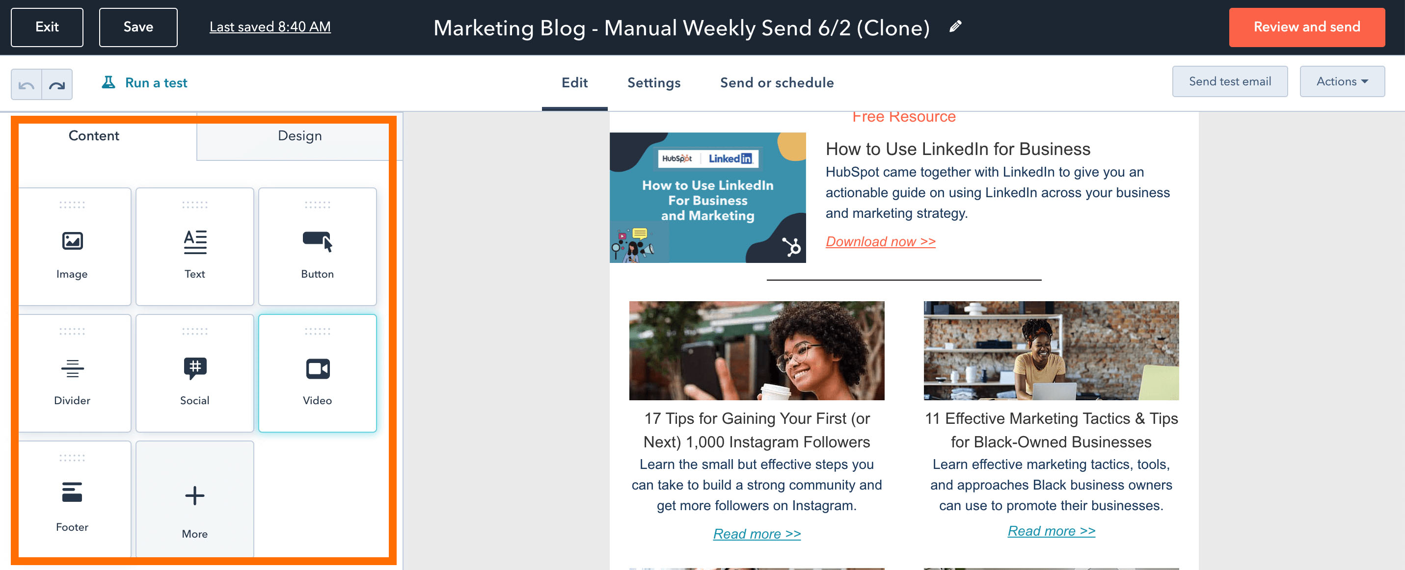 Add a video to a HubSpot email copy