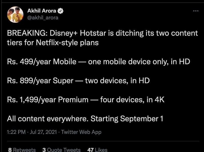 New plans for Disney Plus Hotstar