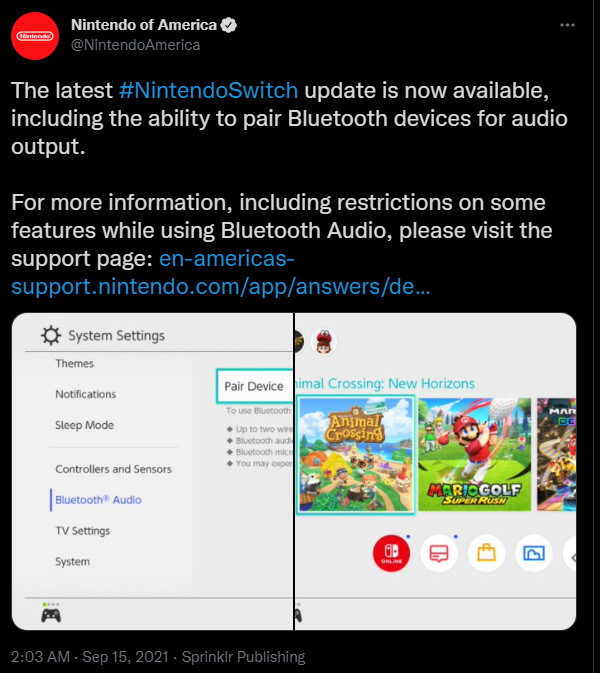 Nintendo Switch bluetooth audio twitter